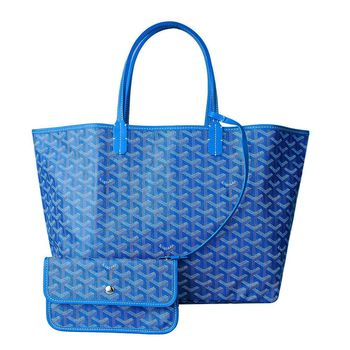 GOYARD St. Louis PM 防水帆布LOGO購物包(中-藍)
