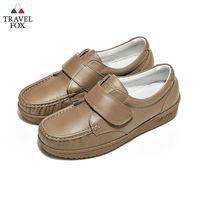 Travel Fox(女) - 午後散步 超軟牛皮舒適熟齡粘扣旅狐休閒鞋 - 舒服棕