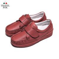 Travel Fox(女) - 午後散步 超軟牛皮舒適熟齡粘扣旅狐休閒鞋 - 秋楓紅