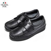 Travel Fox(女) - 午後散步 超軟牛皮舒適熟齡粘扣旅狐休閒鞋 - 好搭黑