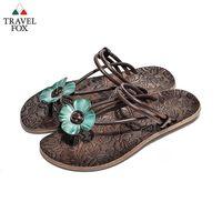 Travel Fox(女) - 俏皮花朵 牛皮三角式裸背旅狐夾腳拖鞋 - 小花藍