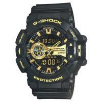 【CASIO】G-SHOCK街頭搖滾金屬風多層次雙顯運動錶-黑X金 (GA-400GB-1A9)