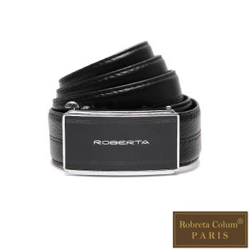 Roberta Colum - 紳士們質感碳纖自動金屬滑扣牛皮皮帶