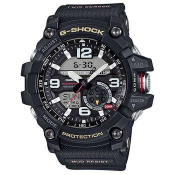 【CASIO】G-SHOCK 全方位防塵泥雙傳感器休閒運動錶-帆布黑 (GG-1000-1A)