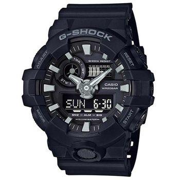 【CASIO】G-SHOCK創新突破金屬感搶眼視覺休閒錶-黑 (GA-700-1B)
