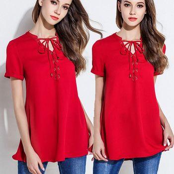 【麗質達人中大碼】IS3009紅色綁帶上衣(XL-5XL)