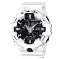 【CASIO】G-SHOCK創新突破金屬感搶眼視覺休閒錶-黑面X白 (GA-700-7A)