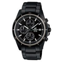 【CASIO】EDIFICE 精準時刻賽車計時黑離子IP腕錶-黑X白圈 (EFR-526BK-1A1)