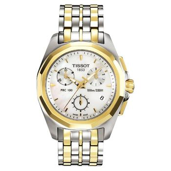 TISSOT PRC100 華麗風尚三眼計時腕錶(半金)-34.8mm T0082172211100