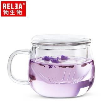 香港RELEA物生物 320ml玲瓏耐熱玻璃泡茶杯(附濾茶器)