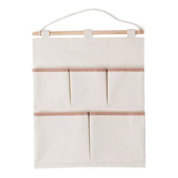 【將將好收納】帆布收納掛袋/五口  收納袋 置物袋 收納籃 壁掛收納袋