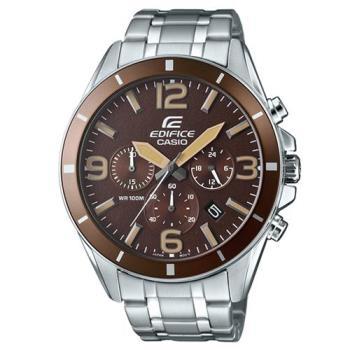 【CASIO】EDIFICE 都會時尚魅力落帥氣指針腕錶-咖啡面 (EFR-553D-5B)