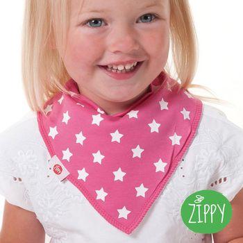 英國Zippy-幼兒時尚口水巾-星星粉