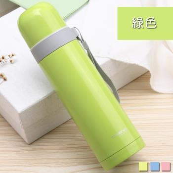 PUSH 不銹鋼雙層無尾真空保溫水壺保溫瓶保溫杯綠色500ml