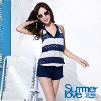 【夏之戀SUMMERLOVE】大女條紋提花連身褲三件式泳衣E16703