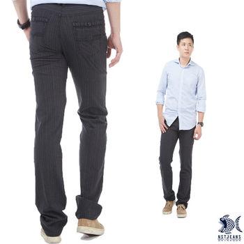 【NST Jeans】380(5532) 條紋共和國 英倫風休閒長褲(中低腰窄版)-行動