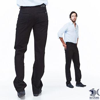 【NST Jeans】380(5529) 德瑞克黑紳士皮質 五袋款窄版牛仔褲(中低腰窄版)