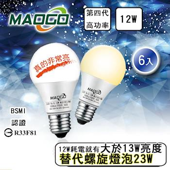 MAOGO 第四代 12w LED 燈泡 - 6入組
