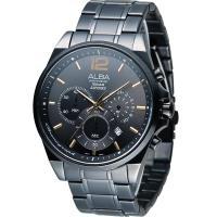 ALBA 雅柏 街頭酷流行三眼計時腕錶 VD53-X260SD 黑 AT3A65X1