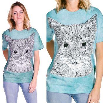 【摩達客】(預購) (大尺碼3XL) 美國進口ColorWear  貓咪小姐 禪繞畫療癒藝術 環保短袖T恤