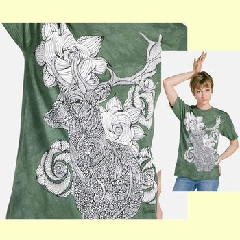 【摩達客】(預購) (大尺碼3XL) 美國進口ColorWear 花與鹿 禪繞畫療癒藝術 環保短袖T恤