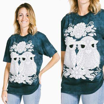 【摩達客】(預購) (大尺碼3XL) 美國進口ColorWear 貓頭鷹小倆口 禪繞畫療癒藝術 環保短袖T恤