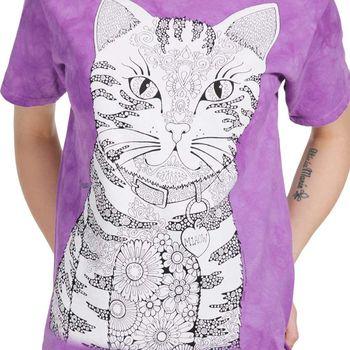 【摩達客】(預購) (大尺碼3XL) 美國進口ColorWear 貓咪喵喵 禪繞畫療癒藝術 環保短袖T恤