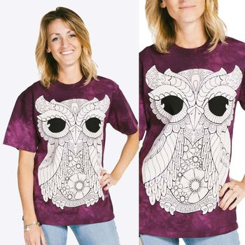 【摩達客】(預購) (大尺碼3XL) 美國進口ColorWear 三號貓頭鷹 禪繞畫療癒藝術 環保短袖T恤