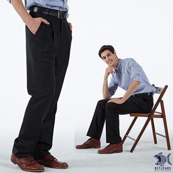 【NST Jeans】001(7252) 英伦风 黑色灰条纹 羊毛x聚酯纤维 打折西装裤(中高腰宽版)
