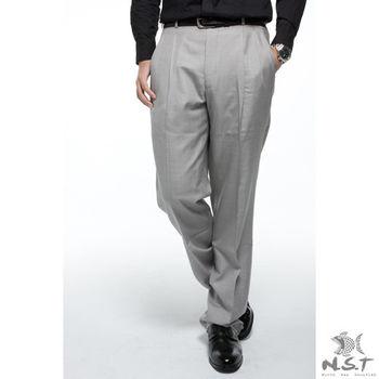【NST Jeans】001(7251) 灰白细点布 羊毛x蚕丝 打折西装裤(中高腰宽版)