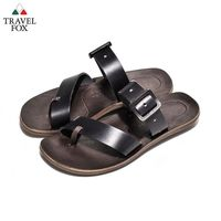 Travel Fox(男) 大方釦 Z字全牛皮姆指休閒拖鞋 - 安卓黑