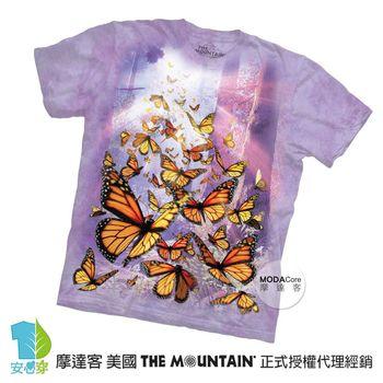 【摩達客】(預購)(中大尺碼)美國進口The Mountain 帝王斑蝶群 純棉環保短袖T恤