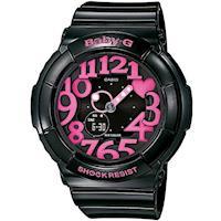 【CASIO】BABY-G 活潑玩味立體霓虹多彩休閒錶-黑/桃紅字 (BGA-130-1B)