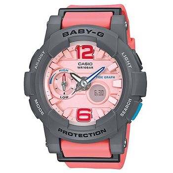 【CASIO】BABY-G 極限運動女孩衝浪板造型概念錶-灰X粉橘 (BGA-180-4B2)