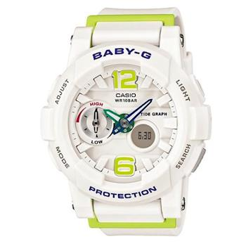 【CASIO】BABY-G 極限運動女孩衝浪板造型概念錶-白X青檸 (BGA-180-7B2)