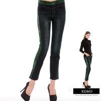 【KIINO】微磨洗丹寧  邊條修飾牛仔褲 藍8030