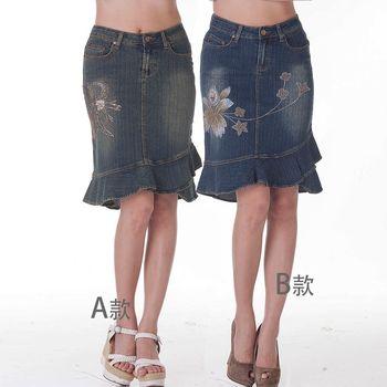 【ARH】獨特手工彩繪亮珠造型魚尾牛仔裙