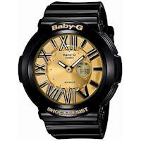 【CASIO】BABY-G 霓虹繽紛夜光羅馬簡約休閒錶-金x黑 (BGA-160-1B)