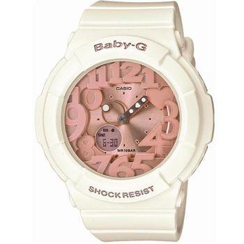 【CASIO】BABY-G 夢幻氣息立體霓虹時刻休閒錶-象牙白x玫瑰金 (BGA-131-7B2)