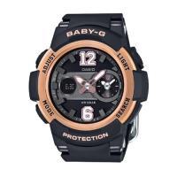 【CASIO】BABY-G立體感街頭運動球衣概念休閒錶-黑X玫瑰金框 (BGA-210-1B)