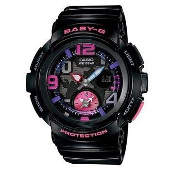 【CASIO】BABY-G 海灘女孩愛旅行系列地圖概念休閒錶-黑x紫紅時刻 (BGA-190-1B)