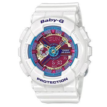 【CASIO】BABY-G 多層次立體感繽紛色彩休閒運動錶-白色 (BA-112-7A)
