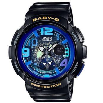 【CASIO】BABY-G 海灘旅行系列深邃夜空兩地時間休閒錶-黑x藍 (BGA-190GL-1B)