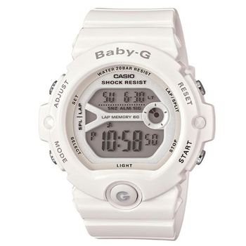 【CASIO】BABY-G 馬錶記憶熱血女孩慢跑運動錶-雪白 (BG-6903-7B)