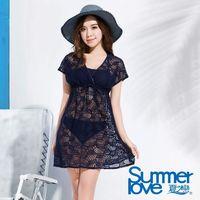 【夏之戀SUMMERLOVE】大女提花連身裙三件式泳衣E16706