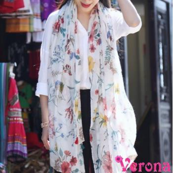 【Verona】日系清新印花圖騰棉麻圍巾披肩絲巾