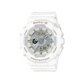 【CASIO】BABY-G 金時尚搖滾隨性風格概念休閒錶-金時刻X白 (BA-110GA-7A1)