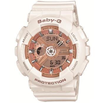 CASIO BABY-G 多層次機械酷感女孩休閒腕錶-玫瑰香檳金X白 (BA-110-7A1)