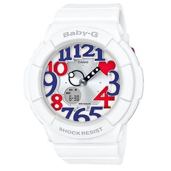 【CASIO】BABY-G清爽海軍風配色活潑感立體時刻休閒錶-法國 (BGA-130TR-7B)
