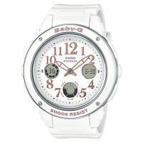 【CASIO】BABY-G 清新典雅系列婉約時尚三眼雙顯休閒錶-白色 (BGA-150EF-7B)